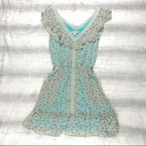 Double Zero Blue yellow Floral Summer Dress Small